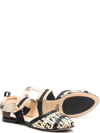 Fendi Beige Ff-pattern Ballerina Shoes