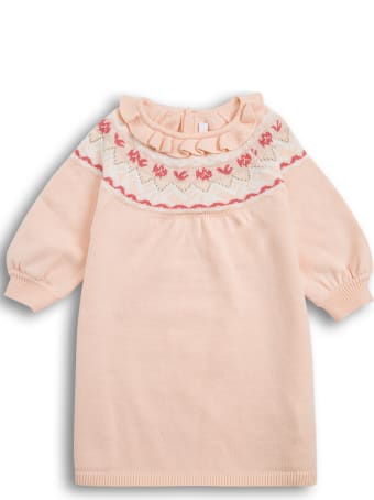 Chloé Pink Cotton Blend Dress With Embroidered Detail