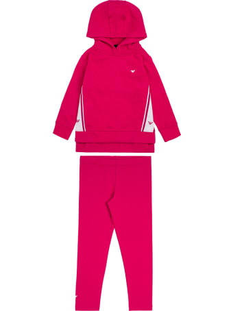 Emporio Armani Coordinated Pink And White Cotton Suit With Logo