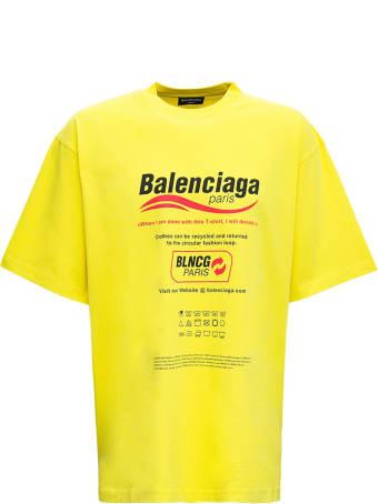 Balenciaga Yellow Cotton T-shirt With Boxy Print