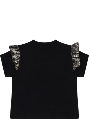 Balmain Black T-shirt For Baby Girl With Logo