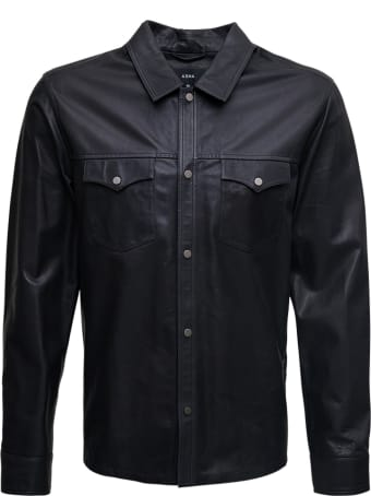 ARMA Black Leather Shirt With Pockets