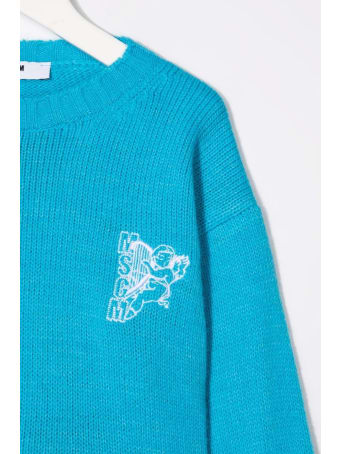 MSGM Kids Turquoise Sweater With Fringes And Logo