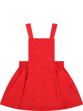 Marni Red Overalls For Baby Girl