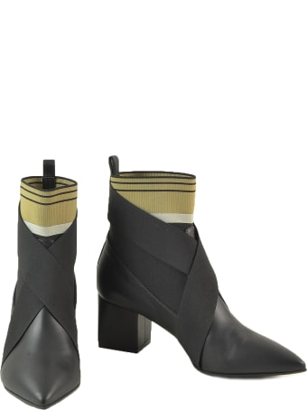 Paoloni Black Leather And Fabric Booties