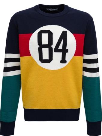 Dolce & Gabbana Color Block Sweater With Jacquard Logo