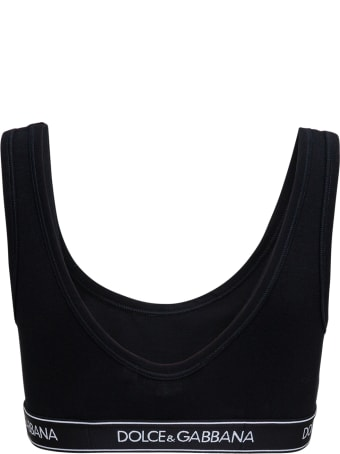 Dolce & Gabbana Black Stretch Cotton Top With Logo Band
