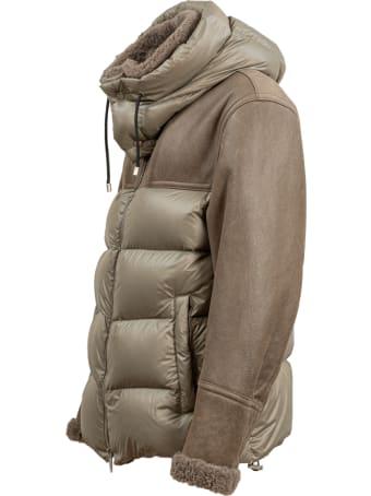 DROMe sheepskin and nylon down jacket