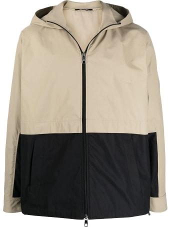 Neil Barrett Black And Beige Cotton-blend Jacket