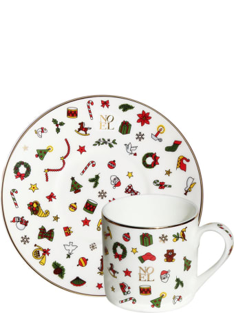 Taitù Set of 2 Espresso Cups & Saucers - Noel Oro Collection