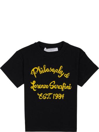 Philosophy di Lorenzo Serafini Kids Black Cotton T-shirt With Logo