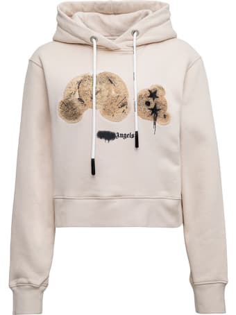 Palm Angels Beige Cotton Hoodie With Logo Print
