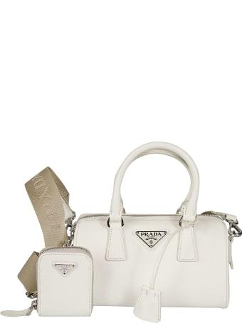 Prada Top Zip Double Handle Logo Plaque Shoulder Bag