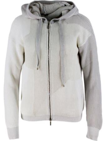 Lorena Antoniazzi Half English Rib Hooded Sweater With Zip And Lurex Filaments