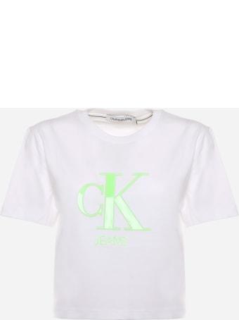Calvin Klein Cotton Crop T-shirt With Neon Logo Calvin Klein
