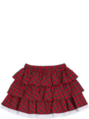 Philosophy di Lorenzo Serafini Kids Check Cotton Skirt  With Flounces