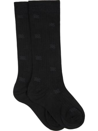 Fendi Black Socks For Girl With Double Ff