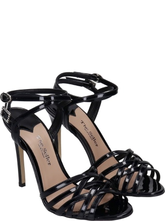 The Seller Sandals In Black Patent Leather