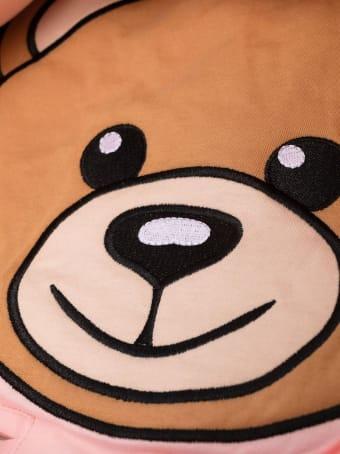 Moschino Pink Padded Baby Sleeping Bag With Moschino Teddy Bear Print