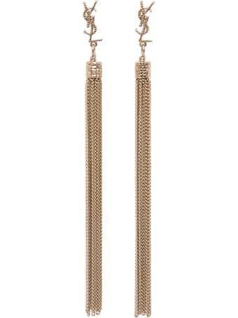 Saint Laurent Loulou Earrings In Golden Brass