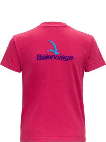 Balenciaga Pink Jersey T-shirt With Logo