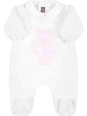 Little Bear White Babygrow For Baby Girl With Bear