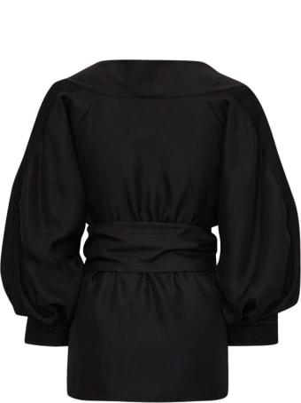 Varana Silk Pippa Top W/ruched Sleeves