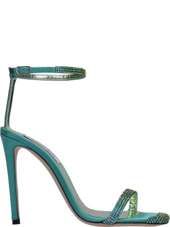 Sebastian Milano Sandals In Green Satin