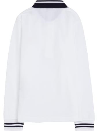Moncler White Cotton Polo Shirt With Logo Patch