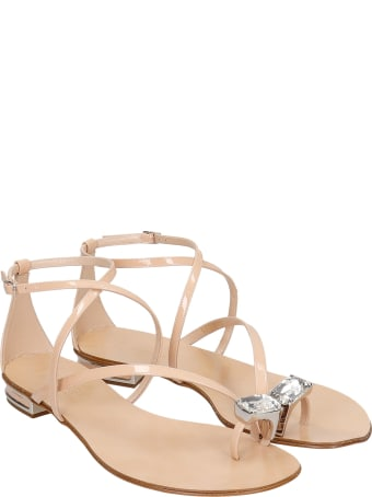 Casadei Flats In Powder Patent Leather