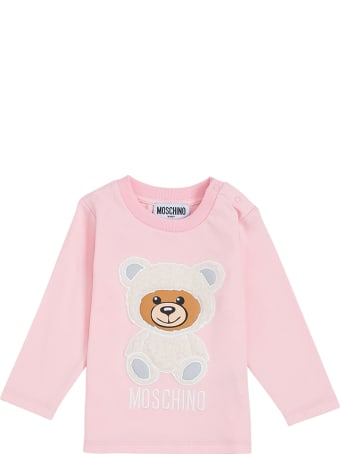 Moschino Long-sleeved Pink Cotton T-shirt With Teddy Bear Print