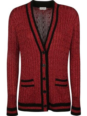 Saint Laurent Stripe Trimmed Knit Cardigan