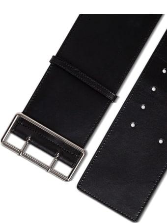 Alexander McQueen Military Belt In Black Leather