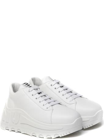 Miu Miu White Leather High Sneaker