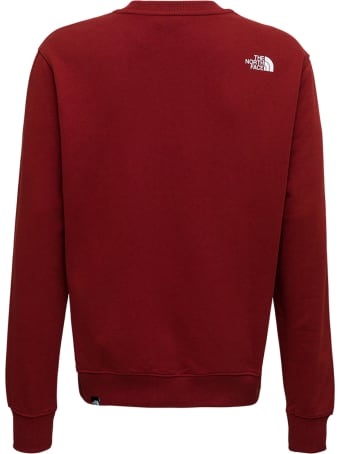 The North Face Red Cotton Crew Neck Sweatshirt With Logo Print