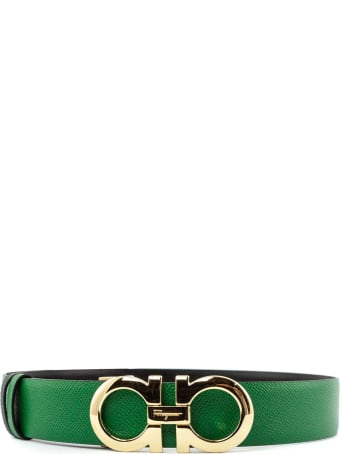 Salvatore Ferragamo Reversible Belt In Green And Black