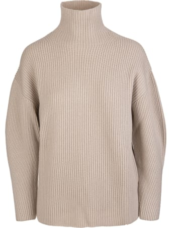 Fedeli Woman Beige Ribbed Cashmere Turtleneck Sweater