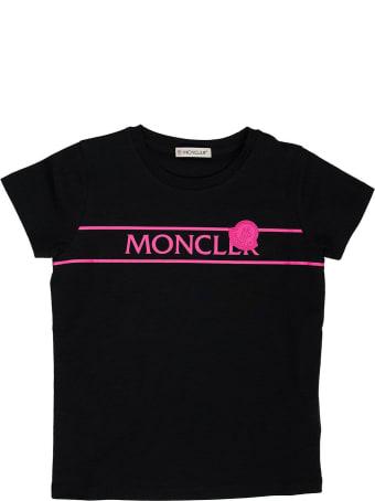 Moncler Neon Pink Logo T-shirt Black