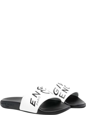 Givenchy White And Black Slippers With Logo