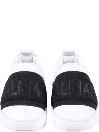 Balmain White Sneakers For Babykids With Logo