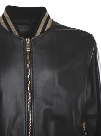 Versace Leather Jacket With Contrasting Greca Motif