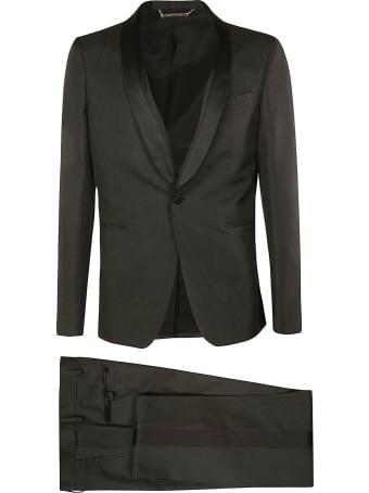 Les Hommes Satin & Ottoman Detailed Lapel Party Suit