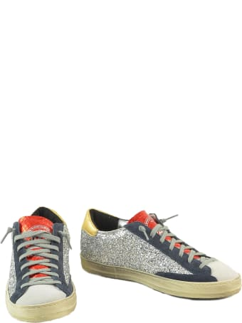 P448 Silver Glitter Textured Leather Women's Flat Sneakers