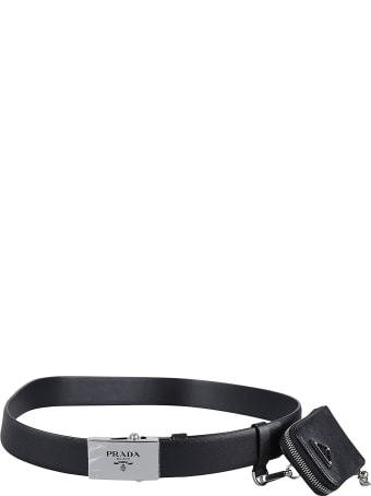 Prada Pouch Applique Logo Buckle Belt
