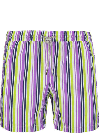 Capri Code Purple And Light Green Striped Swimsuit