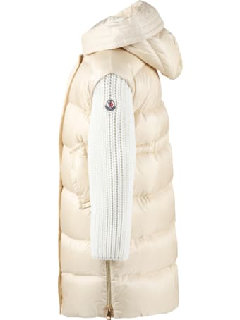 Moncler Beige ''katiefe'' Jacket For Girl With Iconic Patch