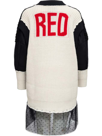 RED Valentino Black Wool Knit Dress With Red Writing