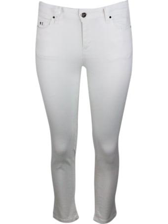Sartoria Tramarossa Pants In Bull Denim Modello Capri Stretch With 5 Pockets