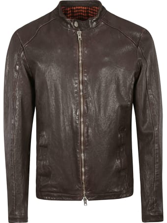 DFour Band Collar Zip Leather Jacket