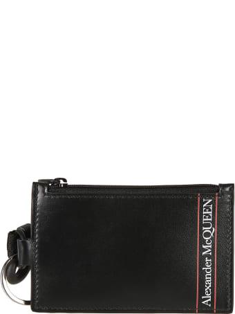 Alexander McQueen Logo Print Detachable Strap Zip Clutch